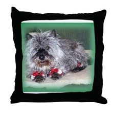 """Santa Claws"" Cairn Terrier Throw Pillow"