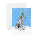 Great Dane Deer Black Greeting Card