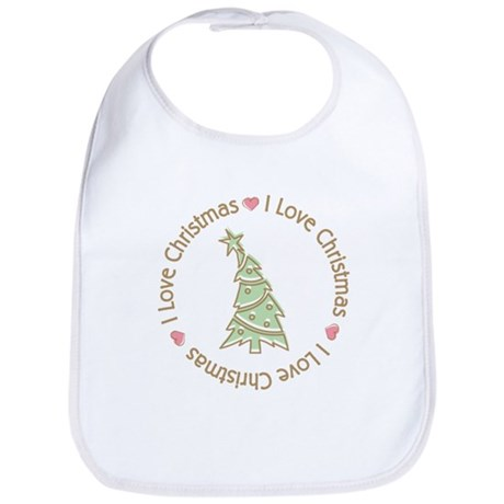 I Love Heart Christmas Bib