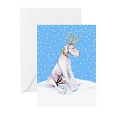 Great Dane Deer White UC Greeting Cards (Pk of 20)