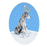Great Dane Deer Merle UC Oval Ornament