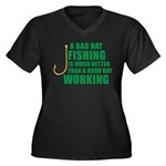 A Bad Day Fishing Women's Plus Size V-Neck Dark T-
