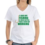 A Bad Day Fishing Women's V-Neck T-Shirt