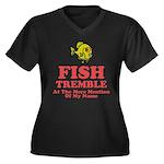 Fish Tremble Women's Plus Size V-Neck Dark T-Shirt