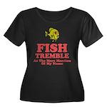 Fish Tremble Women's Plus Size Scoop Neck Dark T-S