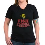 Fish Tremble Women's V-Neck Dark T-Shirt