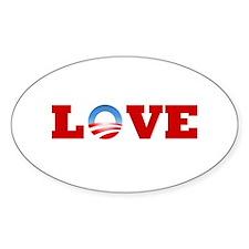 OBAMA LOVE Oval Decal