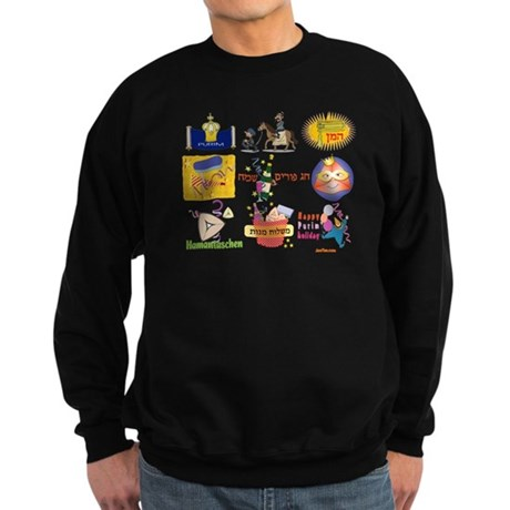 Happy Purim Collage Sweatshirt (dark)