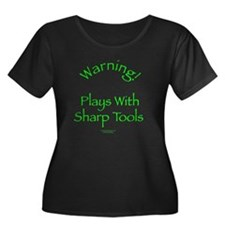 Warning - Sharp Tools Women's Plus Size Scoop Neck