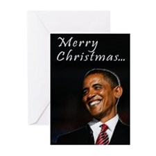 Christmas, Obama and cats Greeting Cards (Pk of 20