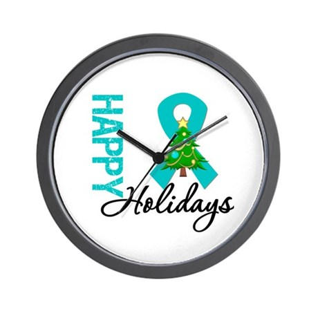 Happy Holidays Teal Ribbon Wall Clock