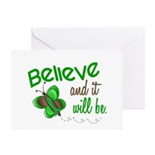 Believe 1 Butterfly 2 GREEN Greeting Card