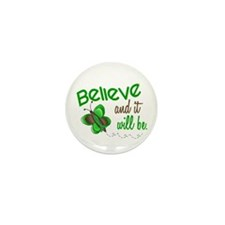 Believe 1 Butterfly 2 GREEN Mini Button (10 pack)