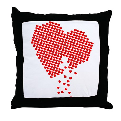 Digital Hearts Throw Pillow