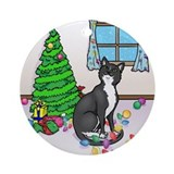 Christmas Tuxedo Cat Ornament (Round)