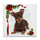 Chihuahua Christmas Tile Coaster