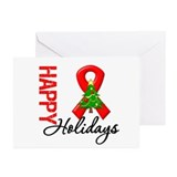 Happy Holidays Red Ribbon Greeting Cards (Pk of 10