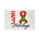 Happy Holidays Red Ribbon Rectangle Magnet