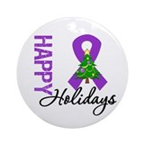Purple Ribbon Christmas Ornament (Round)