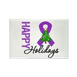 Purple Ribbon Christmas Rectangle Magnet (10 pack)