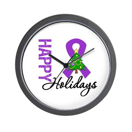 Purple Ribbon Christmas Wall Clock