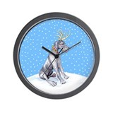 Great Dane Deer Blue UC Wall Clock