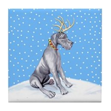 Great Dane Deer Blue UC Tile Coaster