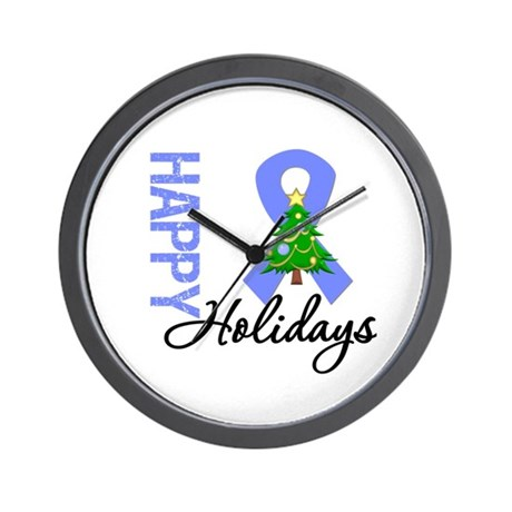 Periwinkle Ribbon Christmas Wall Clock