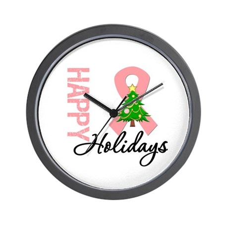 Peach Ribbon Christmas Wall Clock