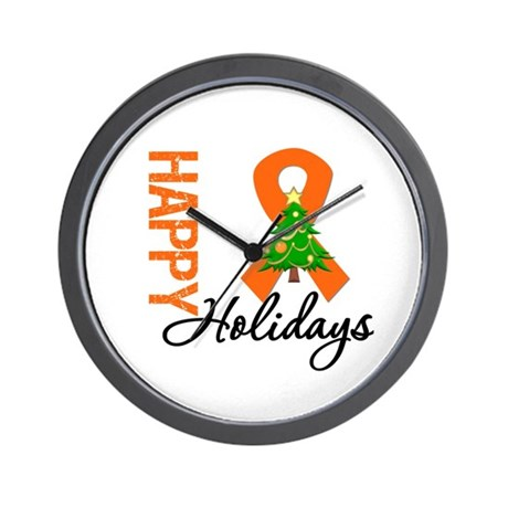 Orange Ribbon Christmas Wall Clock