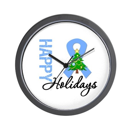 Lt. Blue Ribbon Christmas Wall Clock