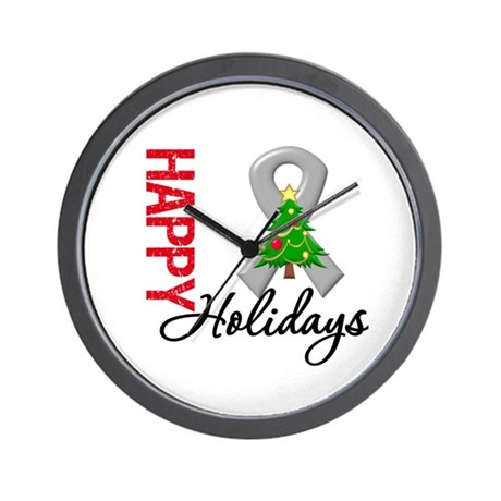 Grey Ribbon Christmas Wall Clock