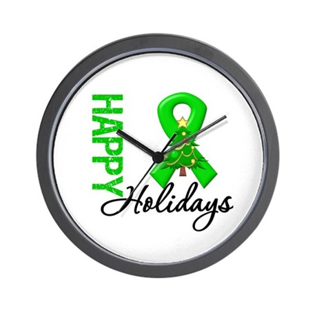 Green Ribbon Christmas Wall Clock