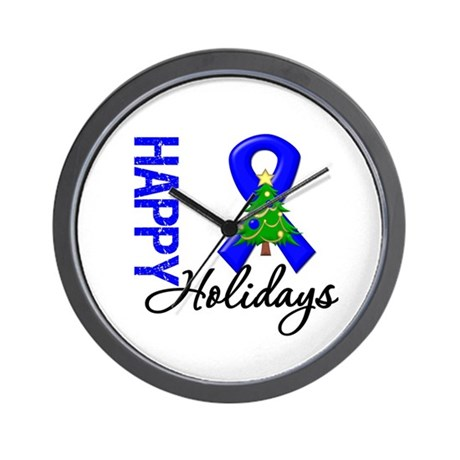 Blue Ribbon Christmas Wall Clock