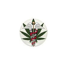Medical Marijuana Caduceus Mini Button (100 pack)