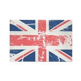 Worn and Vintage British Flag Rectangle Magnet (10