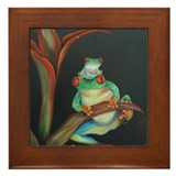 Red Eyed Tree Frog and Baby Framed Tile