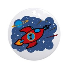 Rocket Ship 1st Birthday Ornament (Round)