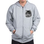 Long-Haired Gray Cat Zip Hoodie
