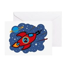 Rocket Ship 2nd Birthday Greeting Card
