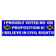 Proudly Voted No on 8 - Jewish Bumper Bumper Sticker