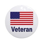 American Flag Veteran Ornament (Round)