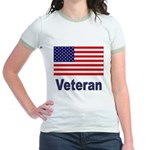 American Flag Veteran Jr. Ringer T-Shirt