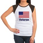 American Flag Veteran Women's Cap Sleeve T-Shirt
