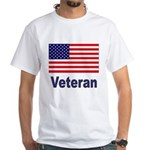 American Flag Veteran White T-Shirt