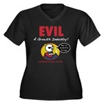 EVIL Women's Plus Size V-Neck Dark T-Shirt