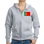 Portuguese Flag of Portugal Women's Zip Hoodie
