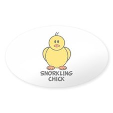 Snorkling Chick Oval Sticker (10 pk)