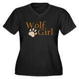 Wolf Girl Women's Plus Size V-Neck Dark T-Shirt