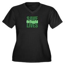Save Lives, Go Veggie! Women's Plus Size V-Neck Da